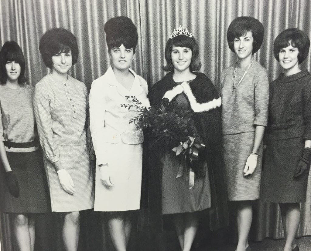 Six female homecoming candidates from 1966 standing for a photo.